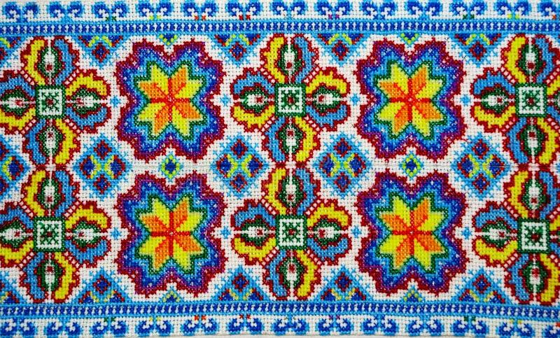 Украинская национальная вышивка конец вверх стоковое изображение