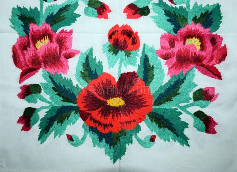Украинская фольклорная вышивка, этническая текстура, дизайн, орнамент стоковое фото