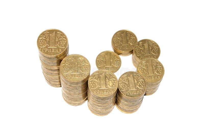 Украинские монетки, пирамидка. (изолировано) стоковые изображения