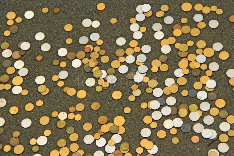 Украинские монетки разбросанные на пол Монеты белые и желтые Малая монетка стоковая фотография rf