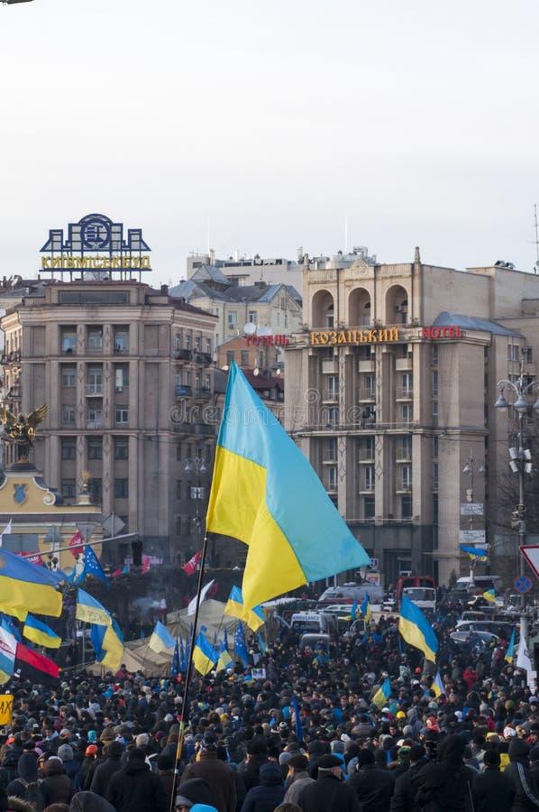 Украинские люди требуют отставке правительства и раньше голосовать стоковое изображение rf