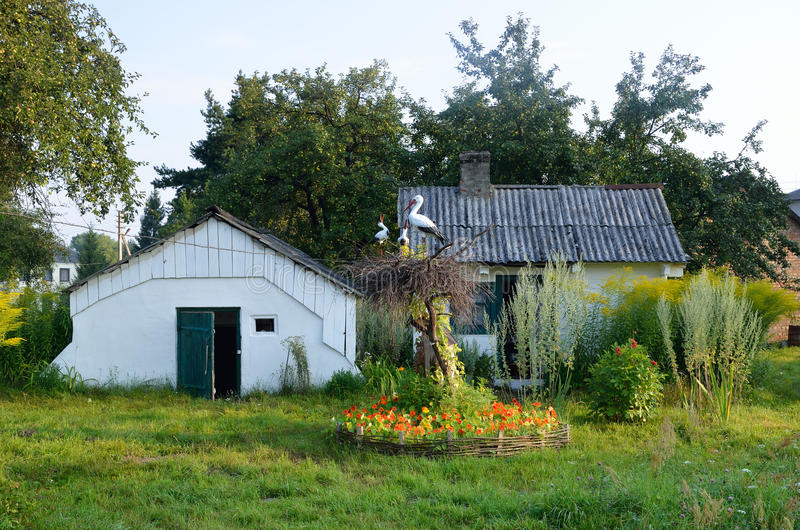 Download Украинский двор страны с гнездом крана Стоковое Изображение - изображение насчитывающей кран, storehouse: 33737259