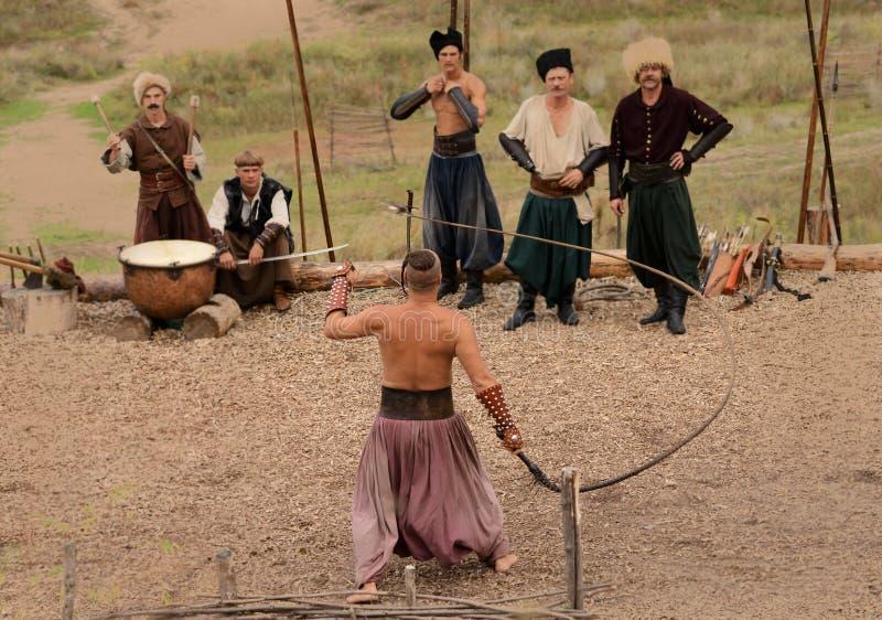 Украинский традиционный фестиваль в Zaporozhye на острове 1-ое октября 2013 Khortitsa стоковое изображение rf