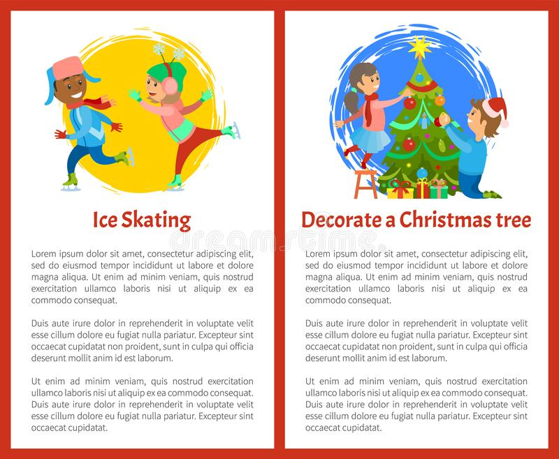 Украсьте рождественскую елку и плакат катания на коньках иллюстрация вектора