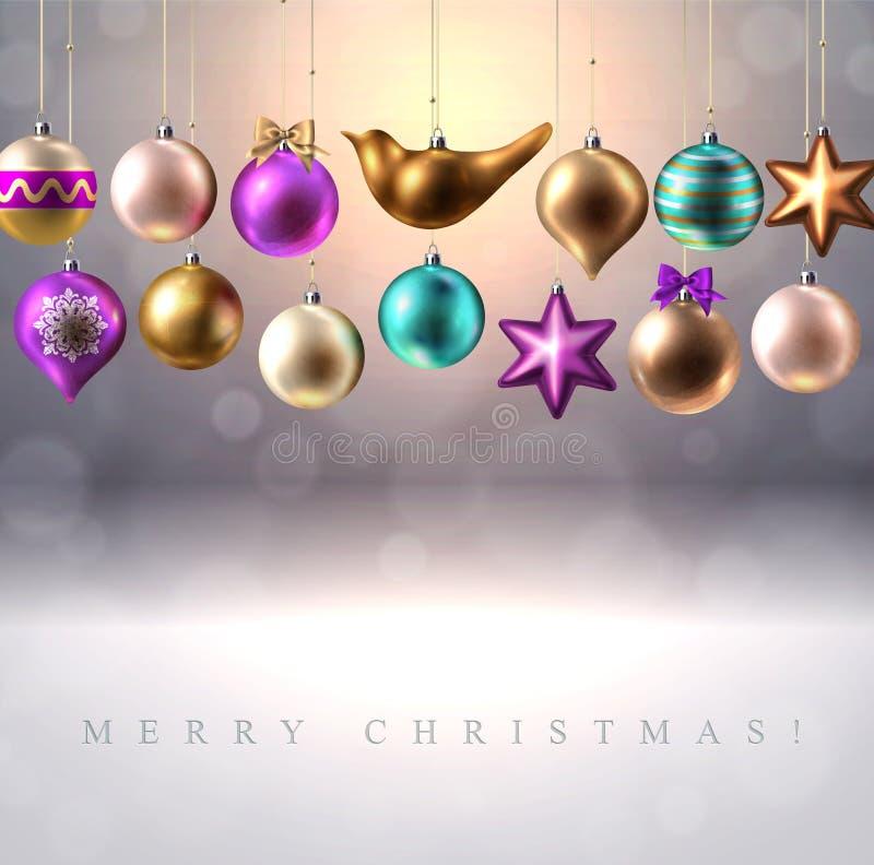 Украшение, безделушки, шарики, птица и звезда рождества иллюстрация штока