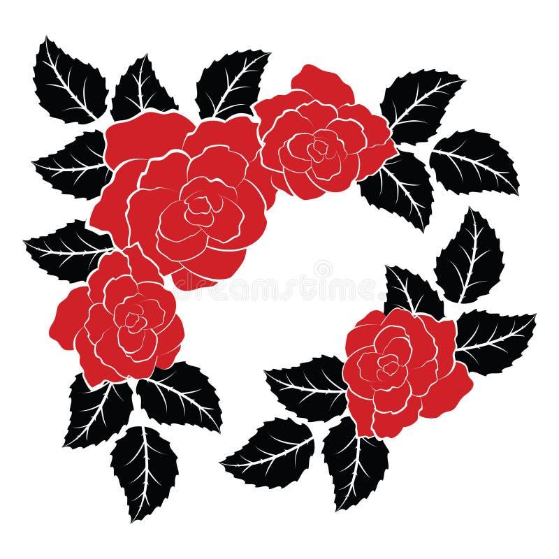 Украшение вектора с красными розами и листьями черноты иллюстрация вектора