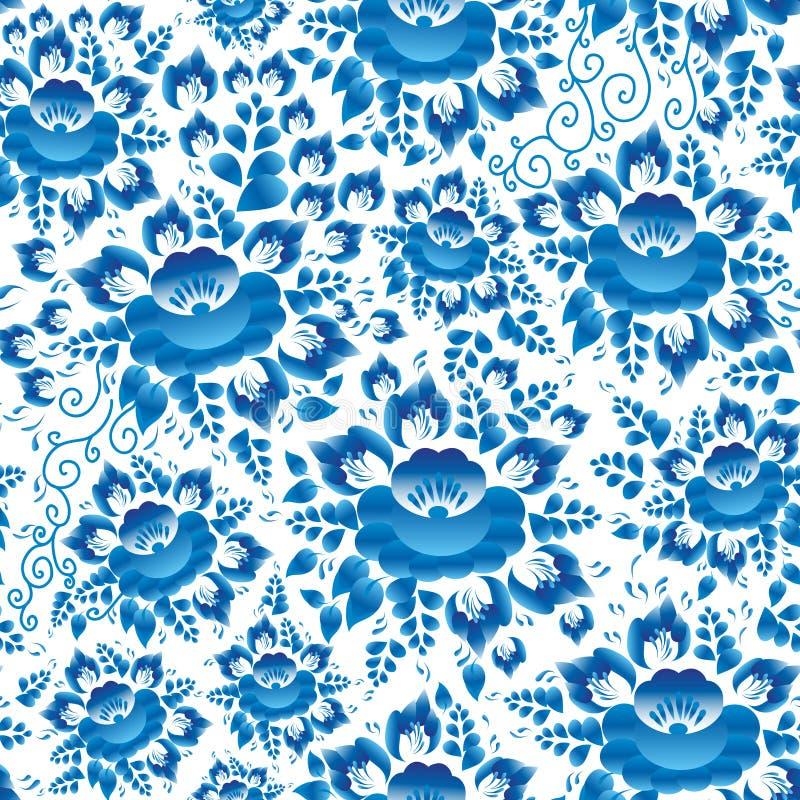 Украшение винтажной затрапезной шикарной весны романтичное, пастель, безшовная картина с небесно-голубыми цветками и листья на бе иллюстрация вектора