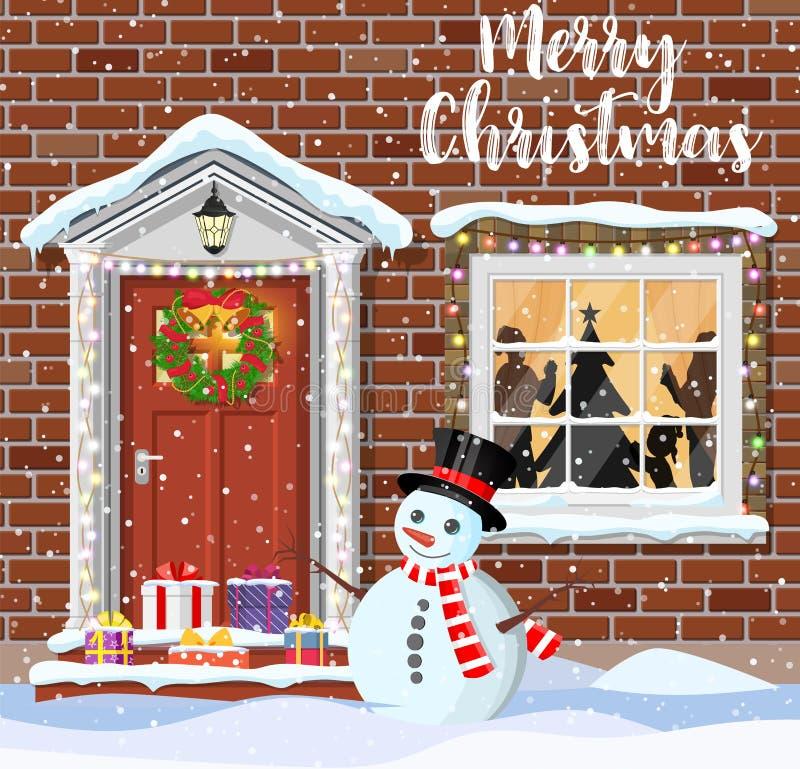 Украшение двери дома для рождества иллюстрация штока