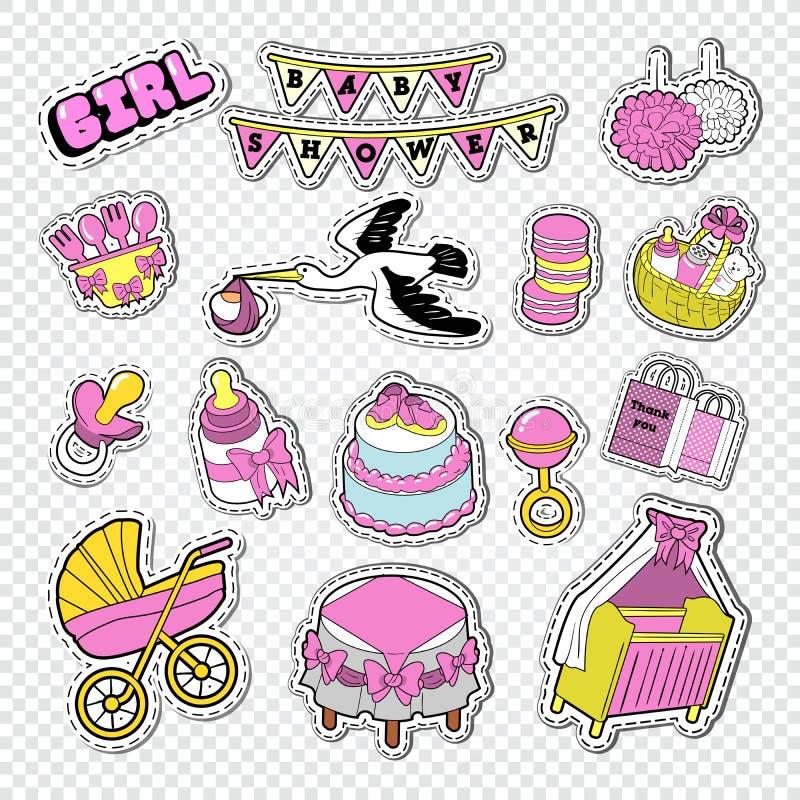 Украшение детского душа установленное с девушкой, игрушками и прогулочной коляской Newborn стикеры, значки и заплаты Doodle парти иллюстрация вектора