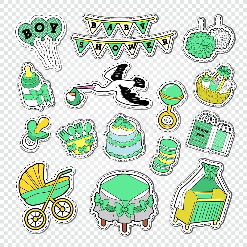 Украшение детского душа установленное с мальчиком, игрушками и носками Newborn стикеры, значки и заплаты Doodle партии иллюстрация вектора