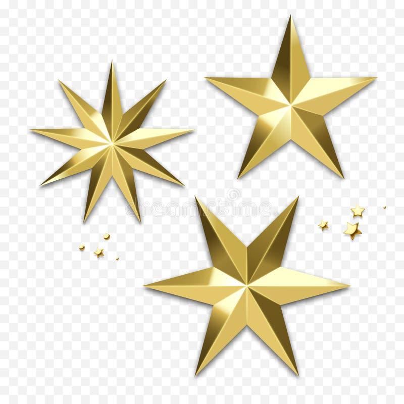 Украшение звезды рождества золотое или орнамент золота снежинки блестящий для поздравительной открытки зимнего отдыха Sp вектора  иллюстрация штока