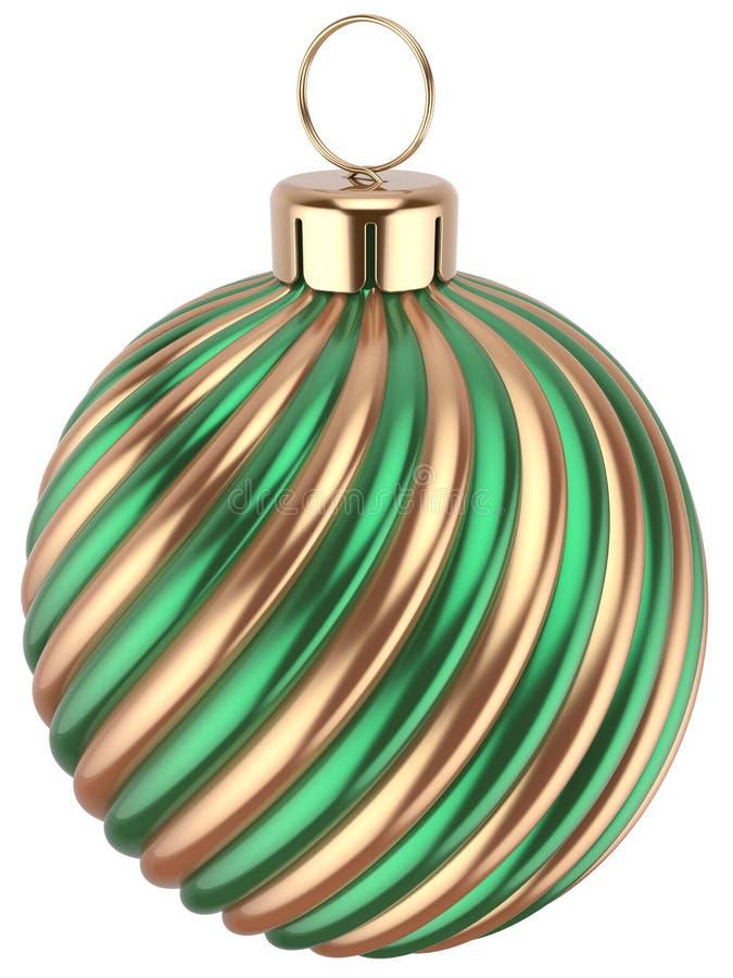 Украшение зеленого золота Eve Новых Годов безделушки шарика рождества иллюстрация штока