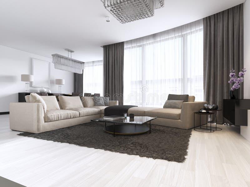 Украшение и дизайн современной живущей комнаты бесплатная иллюстрация