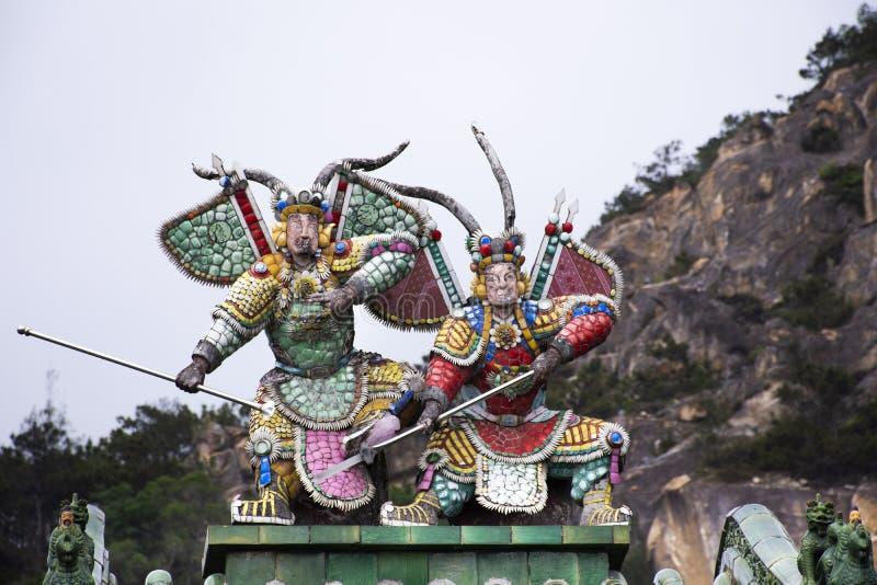 Украшение и стиль дизайна интерьера китайский виска Tiantan для посещения перемещения людей на Shantou или Swatow в Chaozhou, Кит стоковое изображение