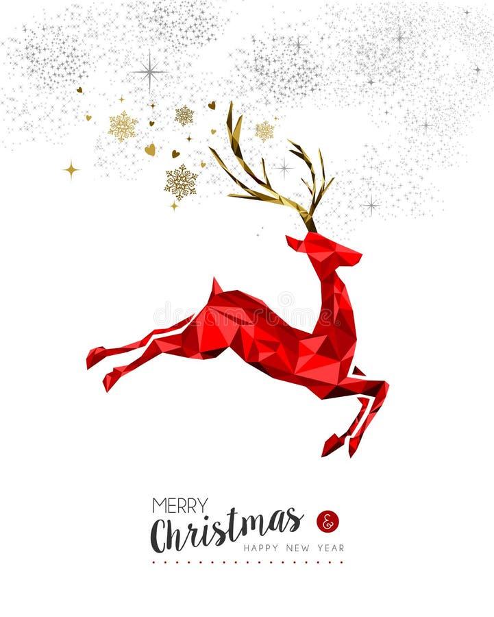 Украшение красных оленей на рождество и Новый Год иллюстрация штока