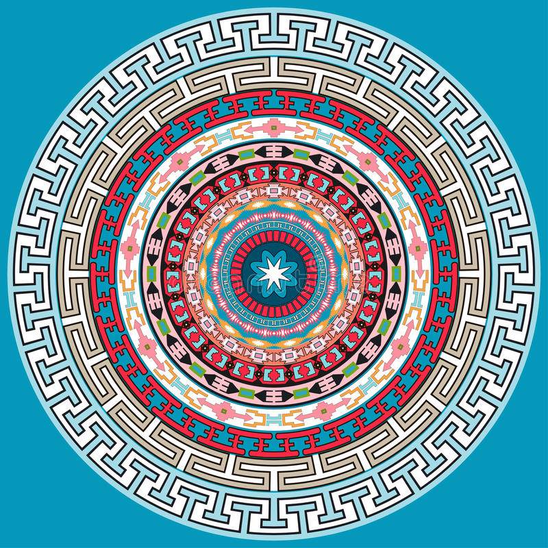 Украшение мандалы Нарисованное рукой оформление стиля для книжка-раскраски Картина племенной этнической флористической мандалы кр бесплатная иллюстрация