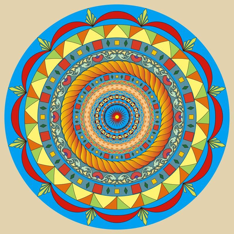 Украшение мандалы Нарисованное рукой оформление стиля для книжка-раскраски Картина племенной этнической флористической мандалы кр иллюстрация вектора