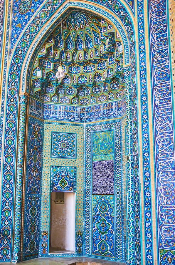 Украшение михраба в мечети Jameh, Yazd, Иране стоковое фото rf