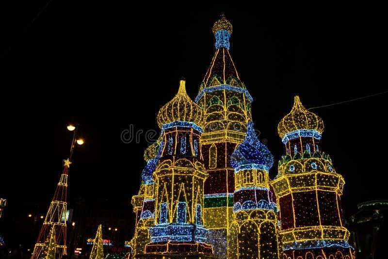 Украшение Нового Года 2018 и Christmass в улицах Москвы стоковое изображение rf