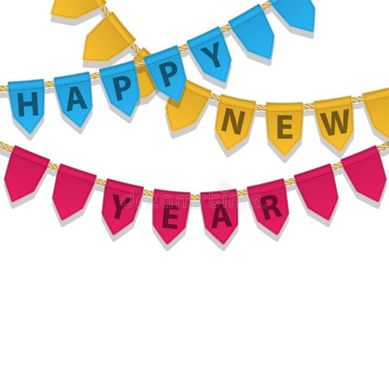 Украшение овсянки с счастливым текстом Нового Года Красочная гирлянда, вымпелы на веревочке для партии, carnaval, торжестве иллюстрация вектора