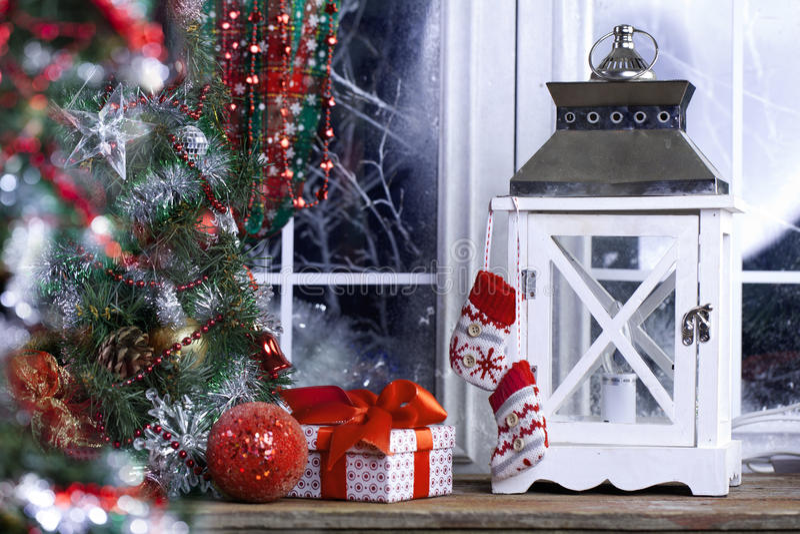 Украшение окна рождества стоковое фото