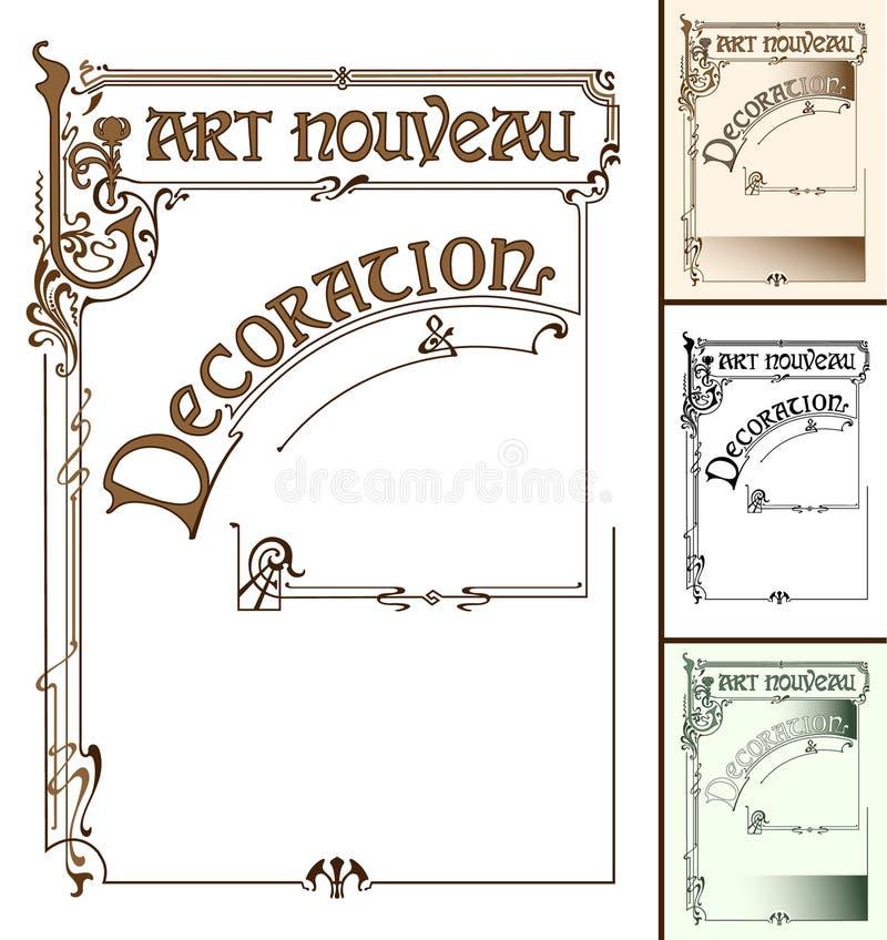 Украшение рамки Nouveau искусства иллюстрация вектора