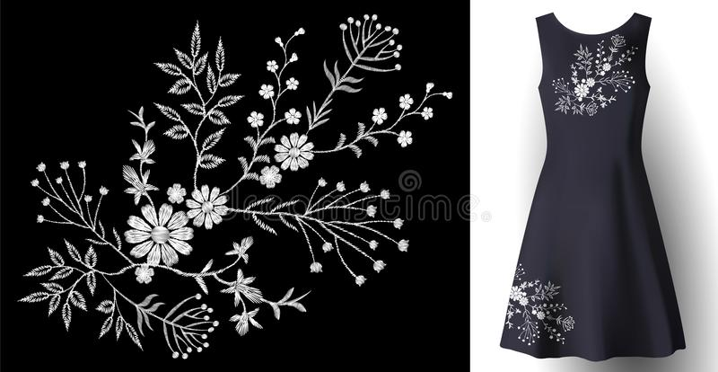 Украшение реалистической вышивки платья женщины флористическое мода детализированная 3d сшила белую заплату орнамента на синем иллюстрация вектора