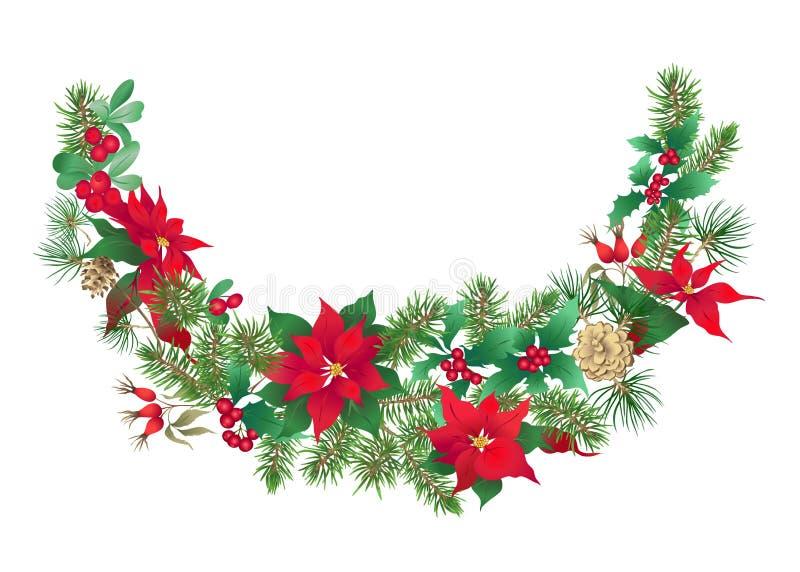 Украшение рождества, венок сделанный ветвей ели стоковое изображение