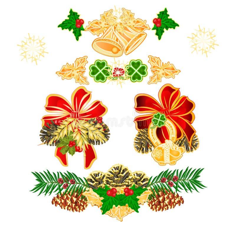 Украшение рождества и Нового Года с конусом yew Cloverleaf колоколов орнаментов рождества horseshoe piggy piggy иллюстрация вектора