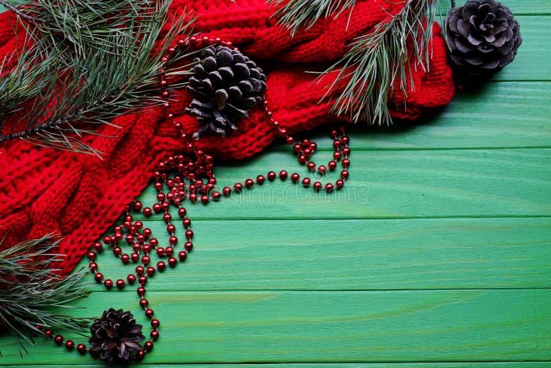 Украшение рождества над деревянной предпосылкой Украшения над древесиной Винтаж стоковая фотография