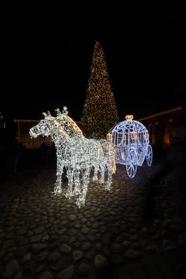Украшение рождества сцены ночи экипажа Золушкы сказки стоковые изображения