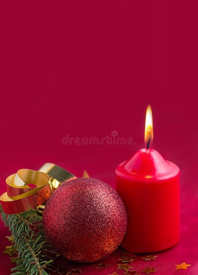 Украшение рождества с свечкой стоковая фотография rf