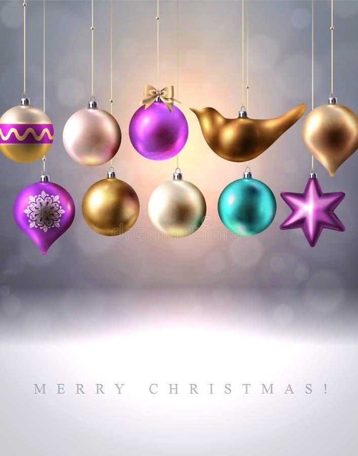 Украшение рождества, безделушки, шарики, птица и звезда, вектор иллюстрация штока
