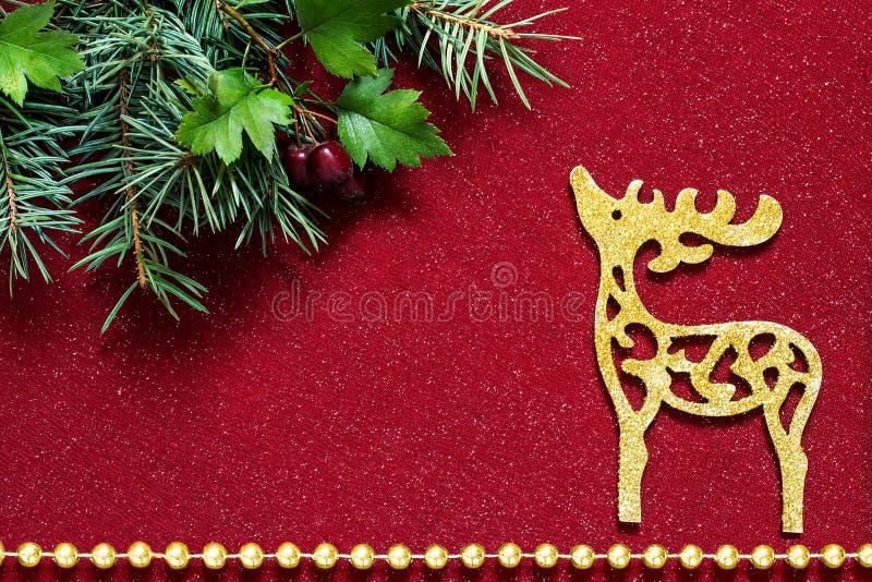 Украшение рождества: ветви ели и красивые олени стоковые фотографии rf