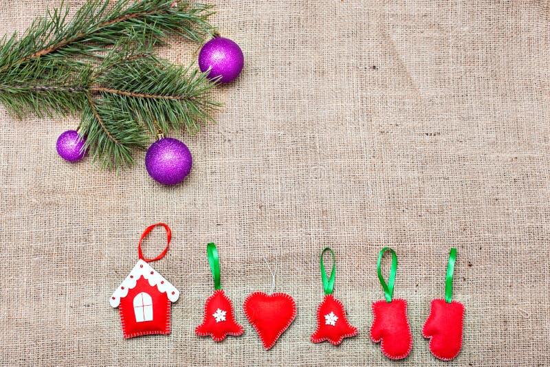 Украшение рождества на мешковине стоковое фото