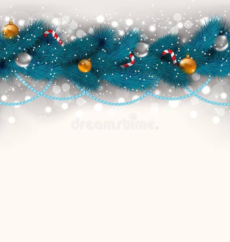 Украшение рождества с ветвями ели, стеклянными шариками и сладостным ca иллюстрация штока