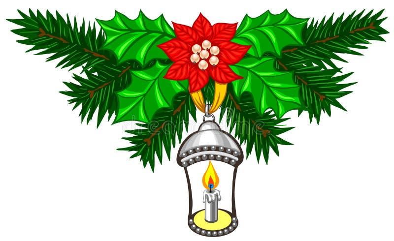 Украшение рождества с ветвями и свечой ели иллюстрация вектора