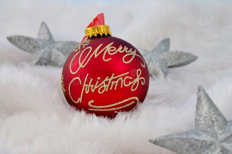 Украшение рождества с поддельным снегом стоковые изображения rf