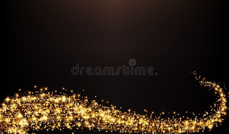 Украшение свирли яркого блеска вектора золотое иллюстрация штока