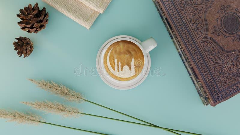 Украшение таблицы Ramadhan с голубыми предпосылкой и eid mubarak стоковые изображения rf