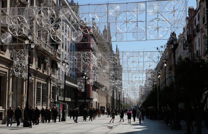 Украшение улицы рождества в Севилье Испании стоковые фото