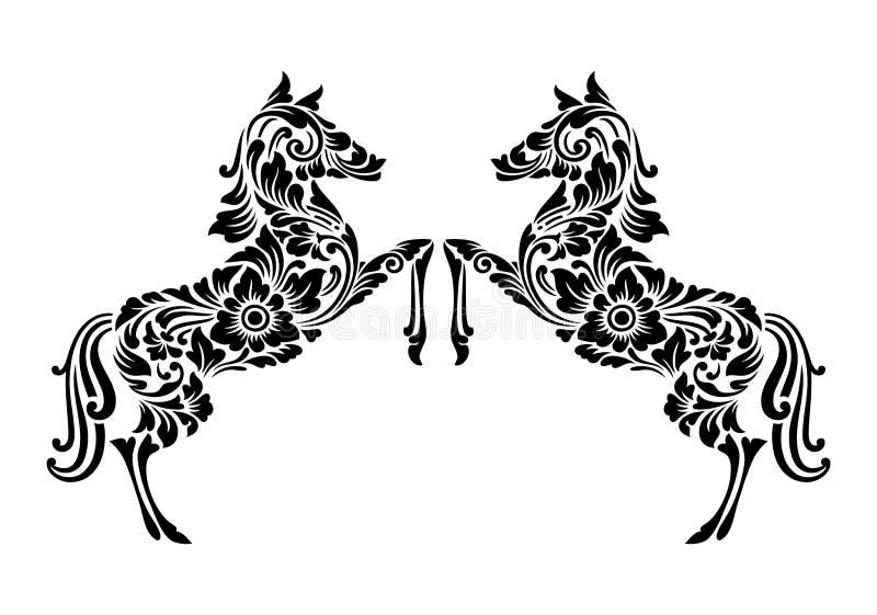 Украшение флористического орнамента лошади иллюстрация штока