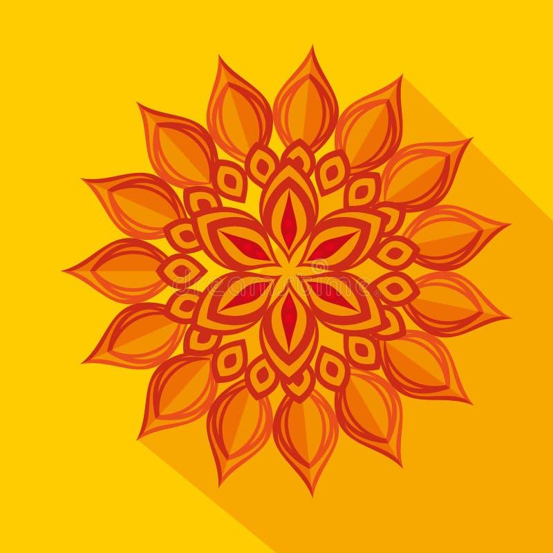 Украшение цветка Diwali над желтой предпосылкой иллюстрация штока