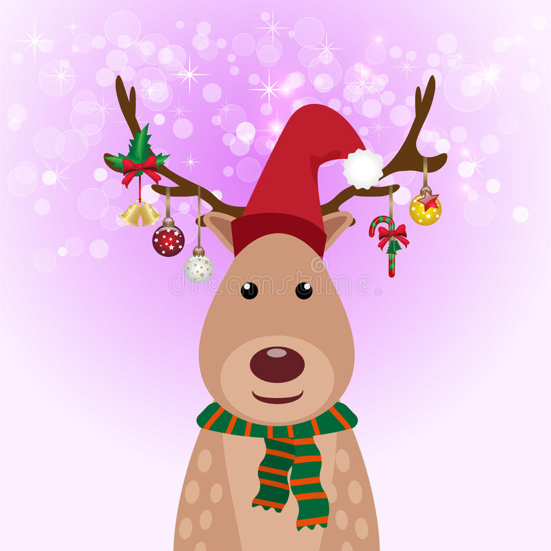 Download Украшение шарика оленей и рождества, предпосылка зарева Иллюстрация вектора - иллюстрации насчитывающей праздник, весело: 81812426