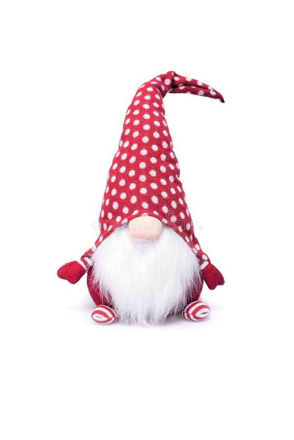 Украшение эльфа рождества с шляпой точки польки и длинной белой бородой стоковые фотографии rf