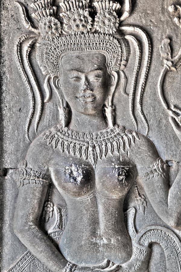 Украшение Apsaras, Камбоджа стоковые изображения