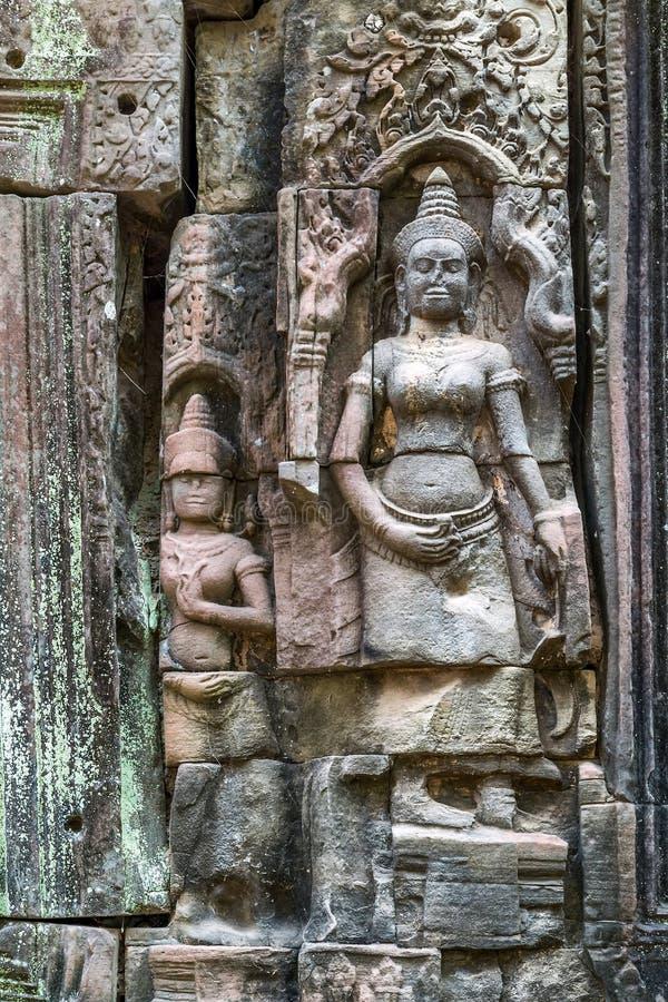 Украшение Apsaras памятника, Камбоджа стоковое фото rf