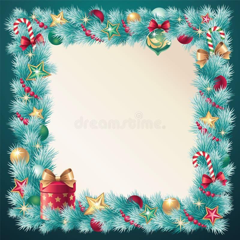 Украшение conifer рождества сбора винограда иллюстрация штока