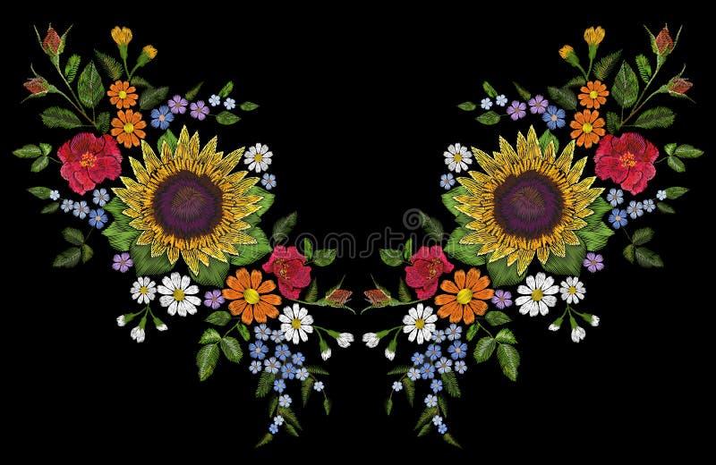 Украшение neckline расположения вышивки поля солнцецвета одичалое флористическое Печать одежды ткани моды флористическая цветасто иллюстрация вектора