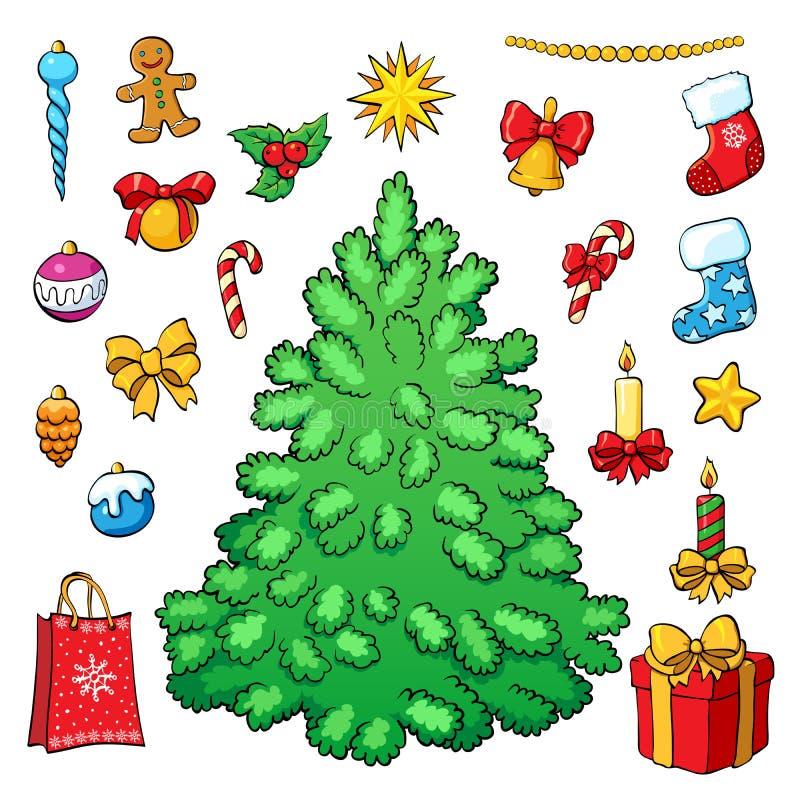 украшения рождества предпосылки изолировали белизну вала вектор комплекта сердец шаржа приполюсный иллюстрация штока